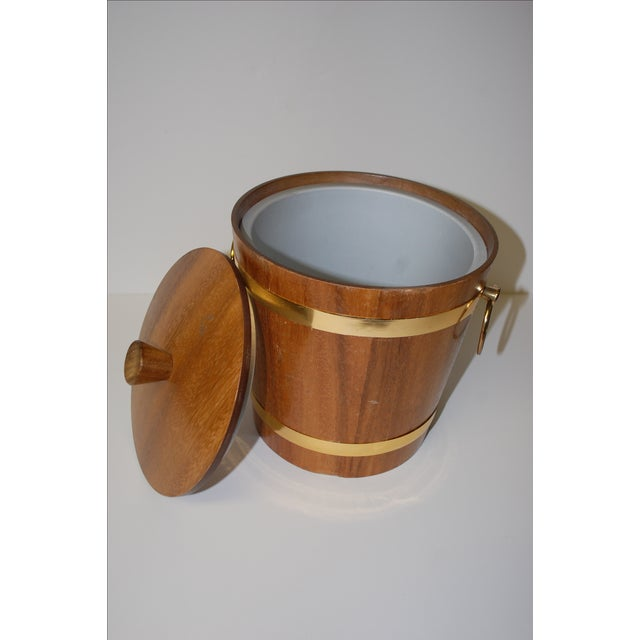 Danish Modern Vintage 1950s Aluminum Lined Teak Ice Bucket For Sale - Image 3 of 5