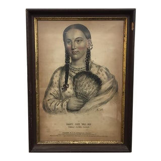 Antique Native American Woman Print in Wood & Gold Trimmed Frame For Sale