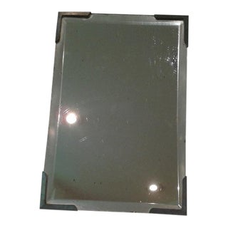 Vintage Beveled Glass Travel Shaving Mirror For Sale