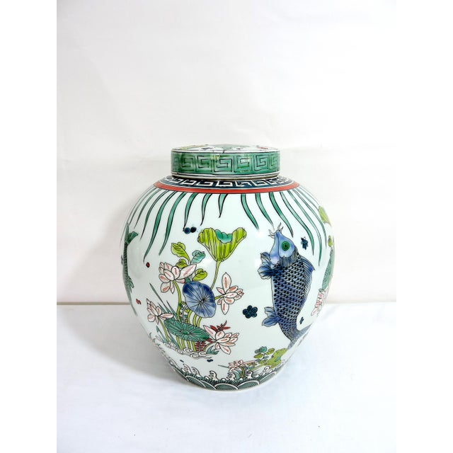 'Kangxi' Chinese Pink & White Lotus Flower Porcelain Ginger Jar With Green and Blue Fish For Sale - Image 4 of 10