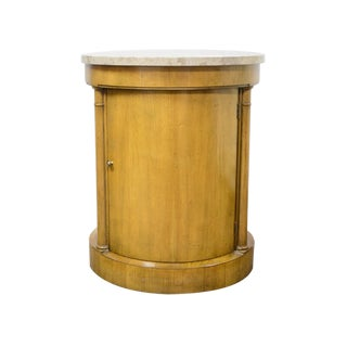 Baker Mid-Century Wood & Marble Drum Table For Sale