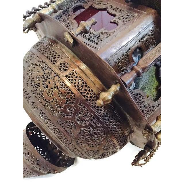 Antique Turkish Pierced Brass Pendant Lamp - Image 7 of 10