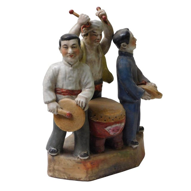 This is a handmade ceramic figure of Chinese cultural revolution / Mao period movement people portrait art display....