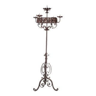 Rustic 18th Italian Century Five Candle Iron Candle Stand For Sale