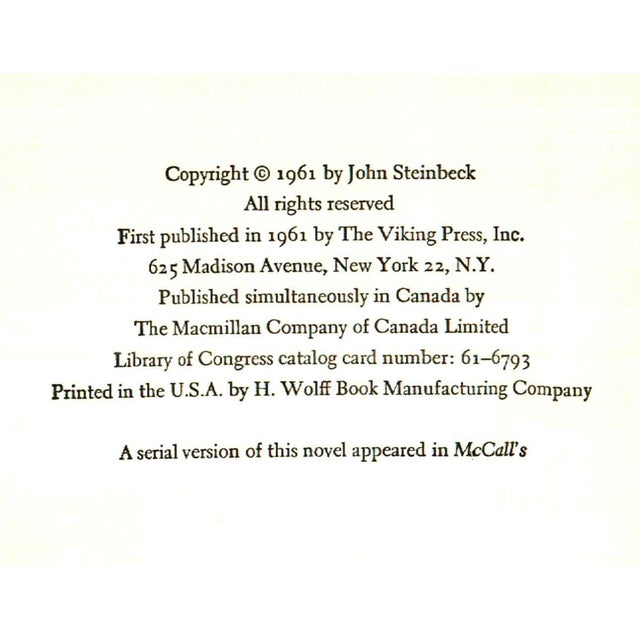 """Mid-Century Modern 1961 """"First Edition, Winter of Our Discontent"""" Collectible Book For Sale - Image 3 of 5"""