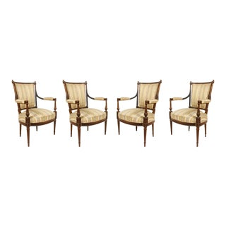 French Louis XVI Striped Arm Chairs - Set of 4 For Sale