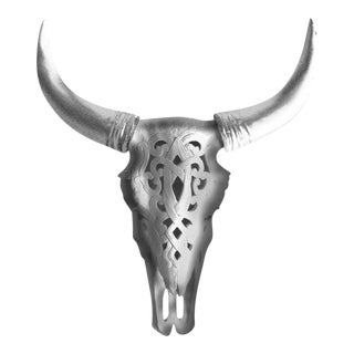 Southwestern Decorative Carved Cow Steer Skull Engraved Wall Hanging Sculpture by Wall Charmers