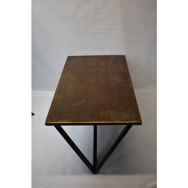 Steel coffee table with stunning orange patina. Designed, fabricated by Oblik studio in Brooklyn New York.