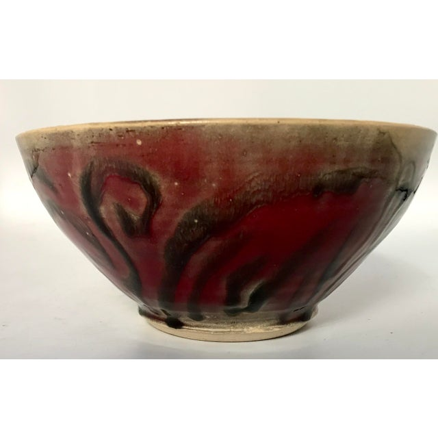 Studio Pottery Drip Glaze and Oxblood Bowl Signed For Sale - Image 5 of 11