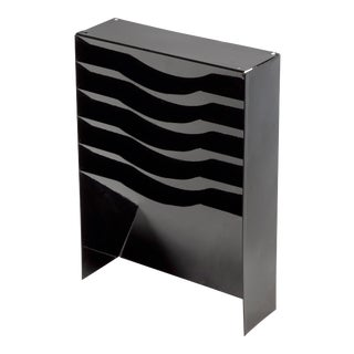 Vintage Tanker Desk Drawer Insert Repurposed as File Holder/ Magazine Rack, Refinished in Gloss Black For Sale