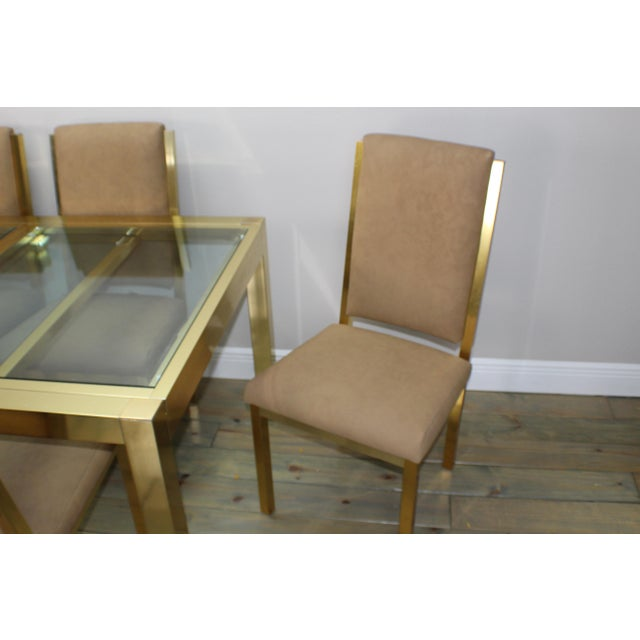 1990s 1990s Mid-Century Modern Brass Dining Table and Chairs - 7 Piece Set For Sale - Image 5 of 11