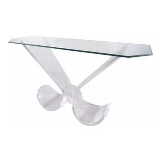 Vintage Modern Lucite and Glass Console Table For Sale