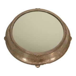 Large Antique English Silver Plated Mirror Plateau by Fenton Bros. Ltd For Sale