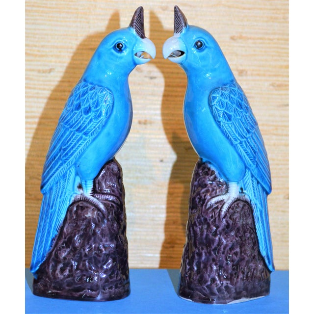 1950s Chinese Turquoise Porcelain Parrot Figurines - a Pair For Sale - Image 9 of 9