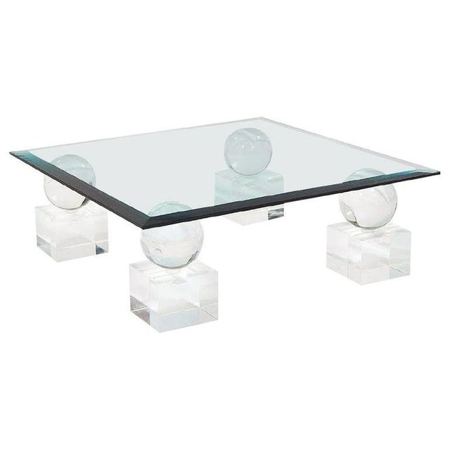 Mid-Century Modern Lucite Glass Coffee Table by Karl Springer Comatec, France 1970s For Sale - Image 10 of 10