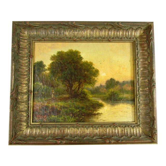 1910 R. Fenson H. Maidment English Landscape Oil Painting Country Girl Stream For Sale