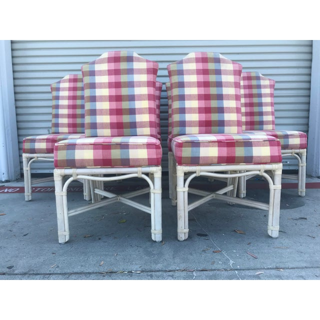 Shabby Chic Ficks Reed Vintage Rattan Leather Wrapped Upholstered Dining Chairs - Set of 6 For Sale - Image 3 of 13