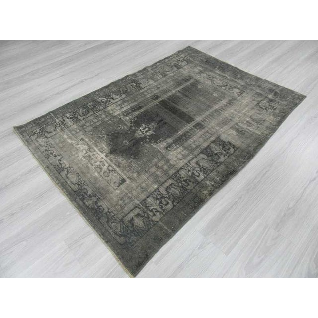 Vintage Artificial Silk Gray Overdyed Turkish Rug - 4′1″ × 5′9″ For Sale - Image 5 of 6
