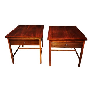 1970s Vintage Mid-Century Paul McCobb for Lane Walnut End Tables-a Pair For Sale