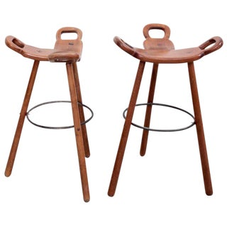 Set of Two Marbella Brutalist Bar Stools For Sale