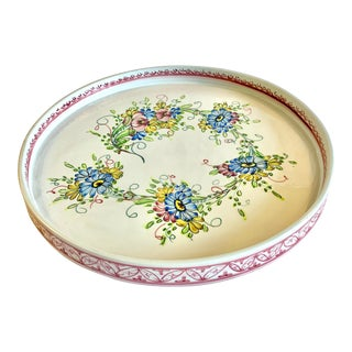 Vintage Hand Painted Ceramic Serving Tray From Portugal For Sale