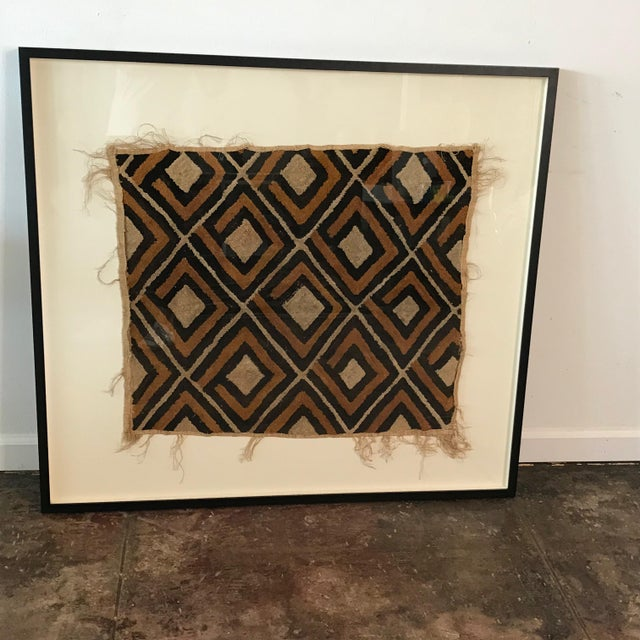 Textile Antique African Diamond Pattern Kuba Cloth Tapestry in Custom Frame For Sale - Image 7 of 7
