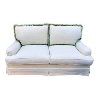 Plush Light Green Designer Down Filled Sofa Settee For Sale