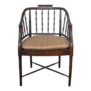 Faux Bamboo Barrel Chair For Sale
