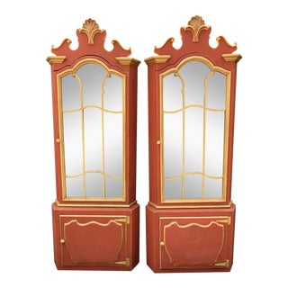 Pair Red & Gold Hollywood Regency Corner Display Cabinets -Dorothy Draper For Sale