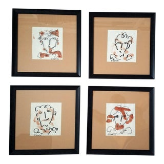 Contemporary Illustrations in Ink and Wash - Set of 4 For Sale
