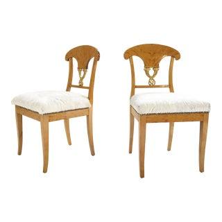 Biedermeier 1820 Satin Birch Chairs Restored in Brazilian Cowhide - a Pair