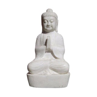 Chinese Vintage Off White Marble Hand Carving Sitting Buddha Statue For Sale