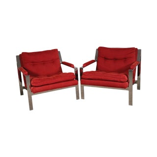Milo Baughman Style Mid Century Modern Pair Chrome Lounge Chairs For Sale