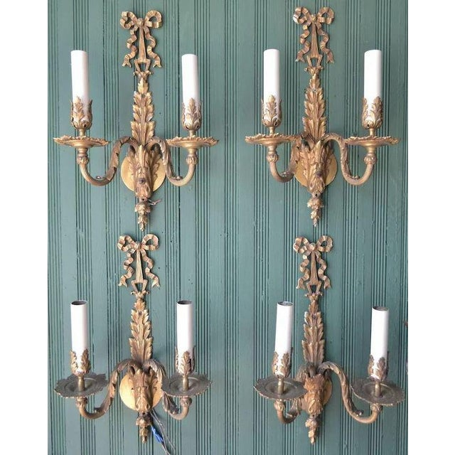 French French Louis XVI Dore Bronze Wall Sconces - Set of 4 For Sale - Image 3 of 11