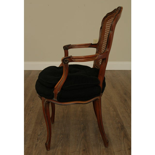 Wood 1950s French Louis XV Style Custom Quality Cane Back Fauteuil Armchairs - a Pair For Sale - Image 7 of 13