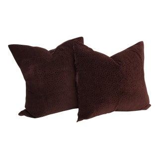Embroidered Velvet Plum Pillows - A Pair