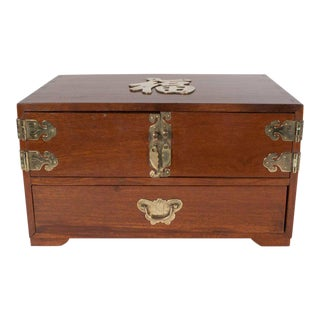 Mid-Century Modern Rosewood Chinese Jewelry Box with Brass Hardware