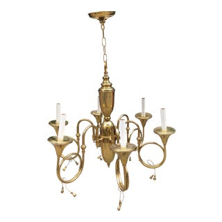French Horn 6-Light Brass Chandelier For Sale