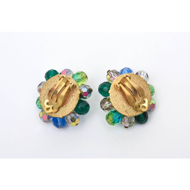 Blue Elsa Schiaparelli Glass Strand Necklace & Clip on Earrings Set of Vintage For Sale - Image 8 of 11