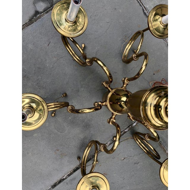 French Mid-Century French Style Brass Hunting Horn 6-Light Chandelier For Sale - Image 3 of 8