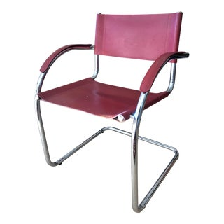 Italian Chrome and Leather Arm Chair Cantilever For Sale