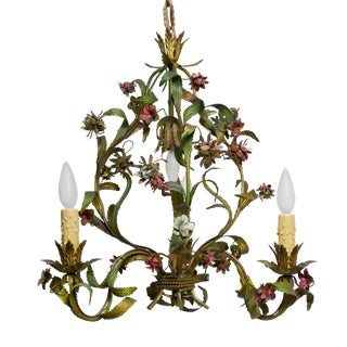 French Tole Painted Floral Chandelier For Sale