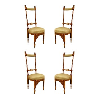 Middle Eastern Moorish Walnut Side Chairs - Set of 4 For Sale