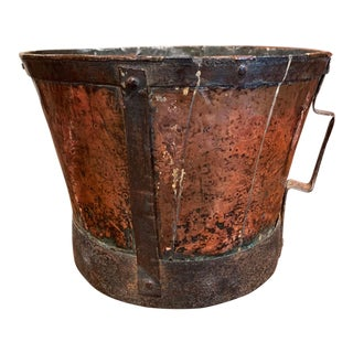 18th Century French Copper and Iron Grain Measure Bucket With Side Handles For Sale