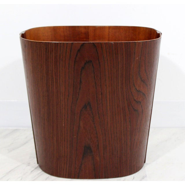 Brown Mid Century Modern Small Wooden Wastebasket Trash Can Mobler Denmark 1960s For Sale - Image 8 of 12