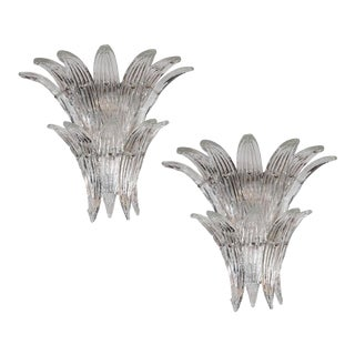 Gorgeous Pair of Mid-Century Two-Tier Palma Sconces in Clear Murano Glass For Sale