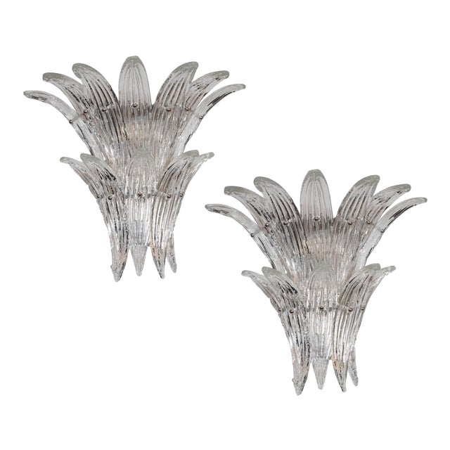 Gorgeous Pair of Mid-Century Two-Tier Palma Sconces in Clear Murano Glass - Image 1 of 6