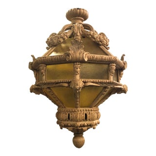 Early 20th Century Carved Fruit and Cherub Pendant Chandelier For Sale