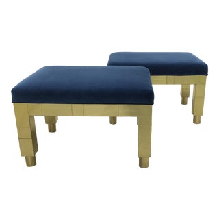 1977 Paul Evans for Directional Cityscape Brass Benches, Pair