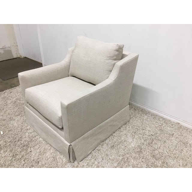 English Traditional Mitchell Gold + Bob Williams Modern Gigi Skirted Return Swivel Chair For Sale - Image 3 of 5